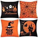 Whaline 4 Pieces Halloween Pillow Case, Orange and Black Pillow Cover, Happy Halloween Linen Sofa Bed Throw Cushion Cover Decoration (18' x 18')