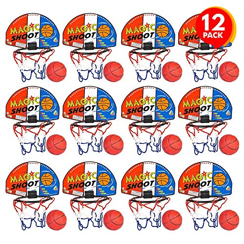 ArtCreativity Magic Shot Basketball Game, 12 Sets, Each Set Includes 1 Mini Ball, 1 Back Board Net, & Mounting Tape, Indoor Basketball Sets for Home, Office, Bedroom, Best Gift for Boys and Girls