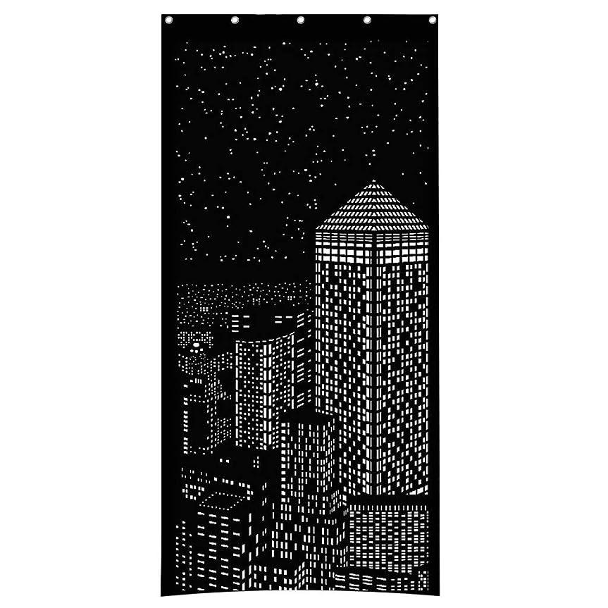 シンプルさ欺くバイオレットMangjiu テン 遮光カーテン 高級感のある生地 ユニークなデザイン 黒 (D)