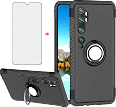 Phone Case for Xiaomi Note 10 mi10 with Tempered Glass Screen Protector Cover and Magnetic Stand Ring Holder Slim Kickstan...