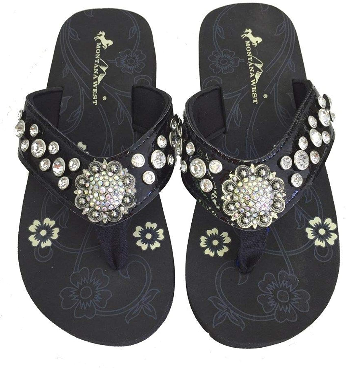 Montana West Women Flip Flops Shiny Bling Sandals Crystals Floral Concho Black