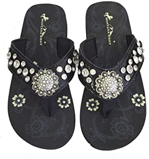 Montana West Women Flip Flops Shiny Bling Sandals Crystals Floral Concho