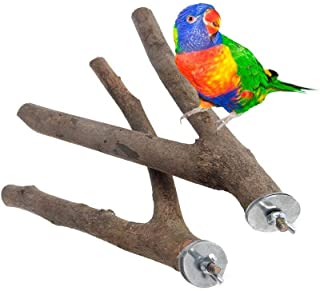 PINVNBY Bird Branches Perch Natural Wooden Fork Parrot cage Stands Toys for Budgies, Conures, Caciques, Cockatiels, Parake...