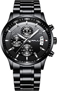 Men's Six-pin Multifunctional Chronograph Wristwatches,Stainsteel Steel Band Waterproof Watch