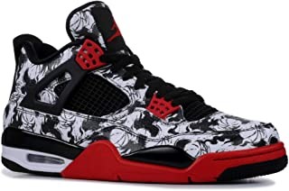Mens AJ 4 Retro Singles Day/Tattoo Basketball Sneaker (Black/Fire Red-Black-White, 11 M US)