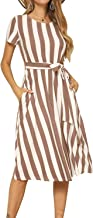levaca Women's Short Sleeve Striped Casual Flowy Midi Belt Dress with Pockets