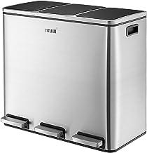 Maxkon 54L Pedal Recycling Bin Kitchen Rubbish Bin Waste Garbage Trash Bin Can with Three Compartments Silver