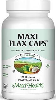Maxi Flax Caps – Organic Flaxseed Oil, Omega 3, 6, 9 - Cold Press - Hexane Free, 700 mg – Kosher, 120 caps,FC