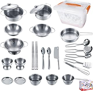 KEJIH Cooking Utensils Set 25 Pieces Stainless Steel Kitchen Toys Pretend Play Pots Pans Toy Cookware Kits for Kids Come with a Handy Storage Box Role Play Educational Toys for Toddlers Small Size