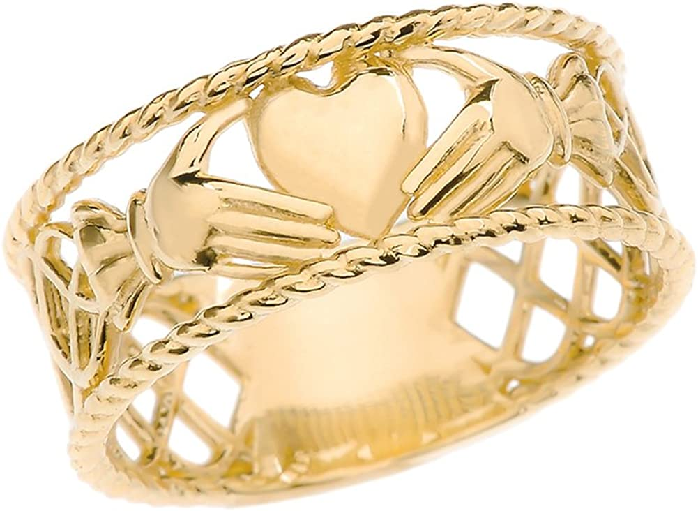 Unique 14k Yellow Gold Celtic Knot Claddagh Heart Rope Design Band