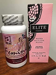 Kit FEMINA (Phytoestrogen Formula) Support Menopause syntoms 60 Capsules & Elite Femme Water Silicone Blend (Premium Personal Lubricant)