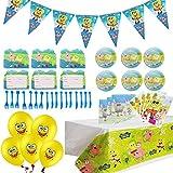 Geenber 84Pcs Spongebob Theme Party Supplies Set Spongebob Birthday Decoration Supply Pack para Spongebob Theme Kids Party Celebration