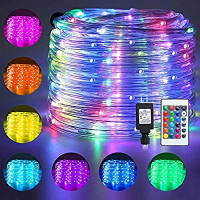 Ollny Rope Lights 180 LED 33ft 16 Multi Colors Changing Outdoor String Fairy Twinkle Strip Tube Lights with Remote Plug in Lights for Bedroom Christmas Tree Party Patio Indoor Decorations,Waterproof