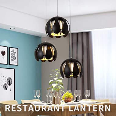 Round Chandelier, Wrought-Iron Three-Tone Chandelier, Can Be Used for Decorative Chandeliers in Bedroom Living Room Dining Ro