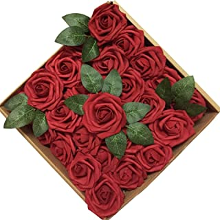 Floral Kingdom Artificial Foam Roses for Crafting, Events,Bouquets, centerpieces Decor, Weddings (27 pcs) (Burgundy-Red)