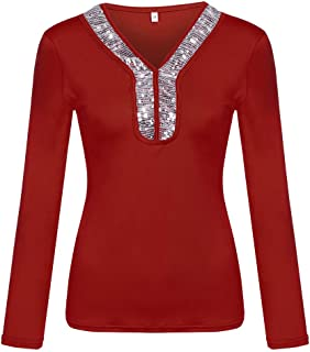 TINGZI Womens Tees Fashion Casual Sequins Long Sleeve V-Neck T-Shirt Solid Blouse Loose Tops Slim Fit Comfy Tunic