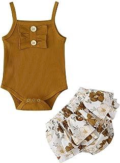 Fossen Kids Ropa Bebe Niña Recién Nacido Verano Bebé Recién Nacido Niñas sin Mangas Mameluco + Tutú Falda Ropa Floral Trajes