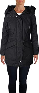 French Connection Womens Mixed Media Hooded Parka Coat