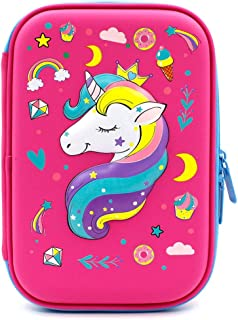Unicorn Gifts for Girls Pencil Case EVA Pen Pouch Stationery Box Anti-Shock for School Students Girls Teens Kids Students Stationery Pouch Zipper Bag for Colored Pencils, Gel Pens (Unicorn1 Hot Pink)
