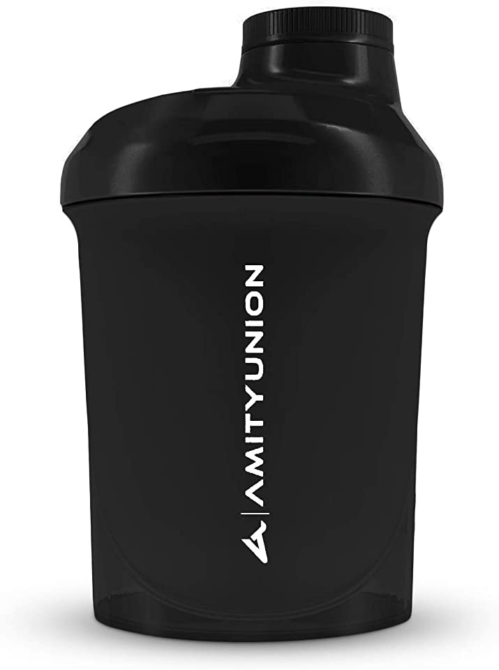 Protein Shaker 400 ml with Strainer - Original Fitness Mixer - Small Protein Shaker Leak-Proof - BPA Free, with Scale for Creamy Whey Protein Powder Shakes, Protein BCAA Concentrates in Black Deluxe