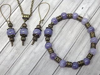 Parure di gioielli con bracciale, orecchini e collana in stile vintage da donna in quarzo blu