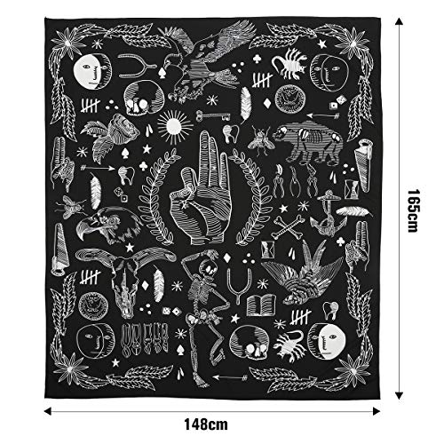 Jeteven Polyester Hanging Tapestry, Wall Hanging Blanket Bedspread Beach Towels Picnic Mat Home Decor Bed Cover - Black Gothic (165x148cm/65''x58'')