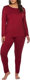 Women's Plus Size Thermal Long Johns Sets 2 Pcs Underwear Top & Bottom Pajamas(16W-28W)