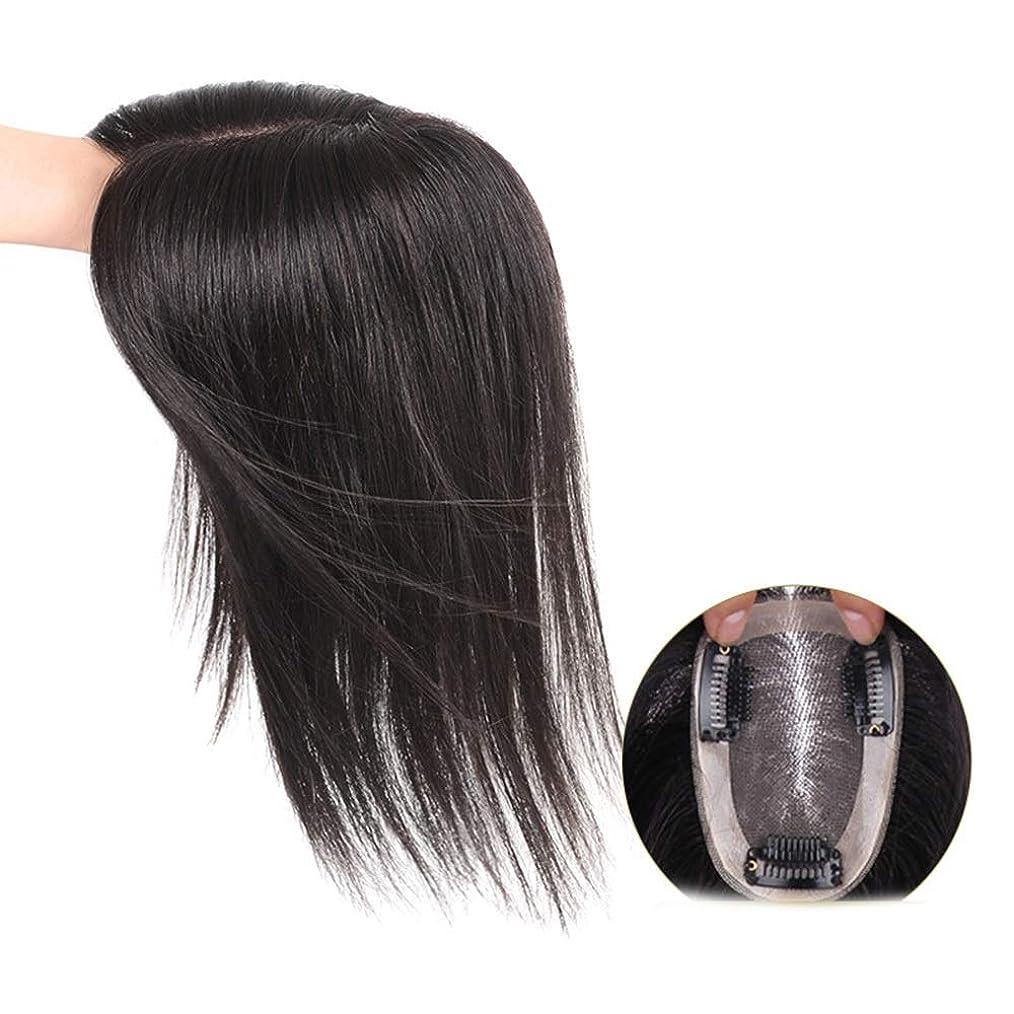 気味の悪い指標はしごYESONEEP 女性のためのリアルヘアクリップヘアエクステンションふわふわウィッグ作品ロングストレートヘア通気性ナチュラルパーティーウィッグ (色 : [7x10] 35cm dark brown)