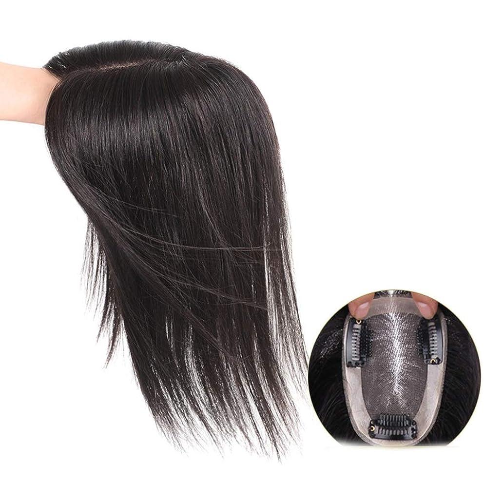 クロニクル校長人工HOHYLLYA 女性のためのリアルヘアクリップヘアエクステンションふわふわウィッグ作品ロングストレートヘア通気性ナチュラルパーティーウィッグ (色 : [9x14] 35cm dark brown)