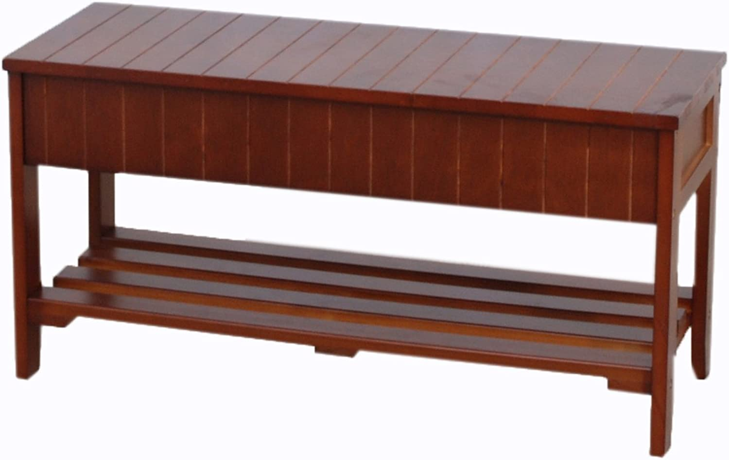 Roundhill Quality Solid Wood shoes Bench with Storage, Cherry