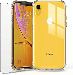 PRIMEONEUSA iPhone XR Crystal Clear Protective Case & Screen Protector - TPU Clear Bumper Drop Proof Cover, Compatible for Apple iPhone 10R / XR Clear Case, 6.1 Inch (2018) – Clear