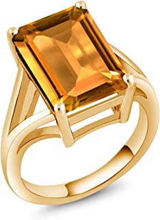 8.20 Ct Emerald Cut Yellow Citrine 18K Yellow Gold Plated Silver Solitaire Ring, Gemstone Birthstone, Available in size 5, 6, 7, 8,