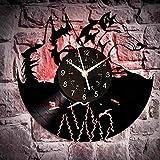 wtnhz LED Reloj de Pared de Vinilo Colorido Reloj de Pared de Vinilo Animal Lobo 12 Pulgadas biack Sala de Estar decoración de Interiores Arte de Pared Regalo para niños
