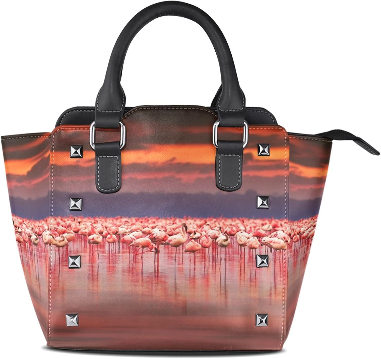 My Little Nest Women's Top Handle Satchel Handbag Flamingoes Lake Ladies PU Leather Shoulder Bag Crossbody Bag
