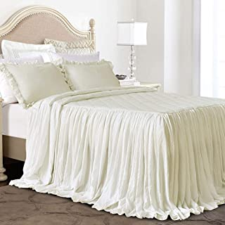 Queen's House Ruffle Skirt Bedspread Ivory Shabby Farmhouse Style Lightweight 3 Piece Set Queen