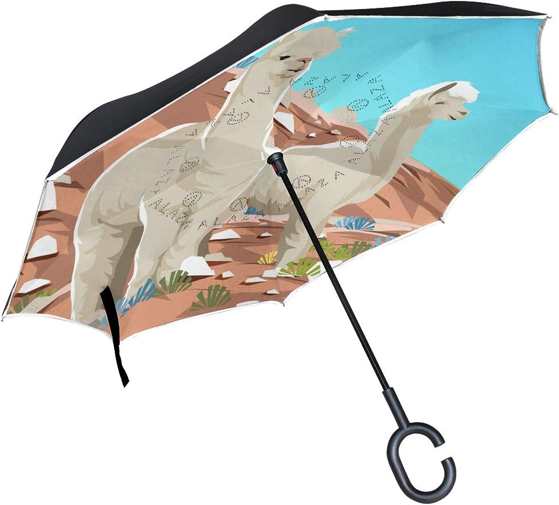 Imobaby Alpaca at The Desert Straight SelfStanding Reserve Rain Car Umbrella Large Double Layer Ingreened Folding Umbrella Waterproof Umbrellas for Car