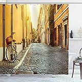 lovedomi Viaje en Bicicleta por la Calle en Roma Italia Destino Luna Miel Patrón Fondo Decorativo Baño Cortina Ducha Impresión 3D Revestimiento Impermeable Fibra poliéster 72X72 Pulgadas 12 Ganchos