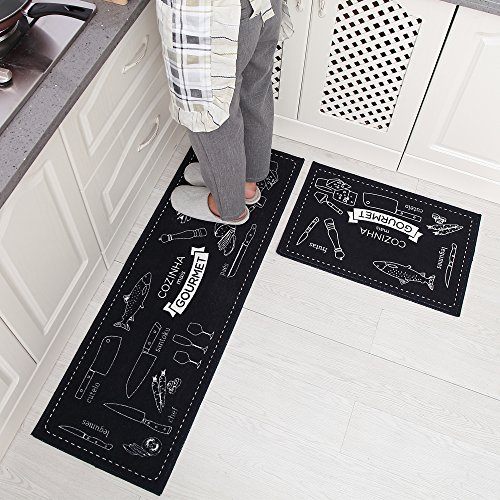 Carvapet Non-Slip Kitchen Mat Set Rubber Backing Doormat Runner Rug Set, Cozinha Design (Navy Blue 15