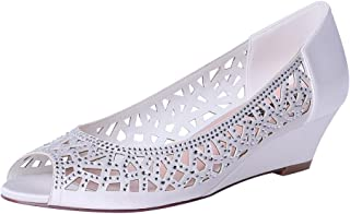 8cade9b7ac Amazon.com: Wedge - Ivory / Pumps / Shoes: Clothing, Shoes & Jewelry