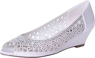 Women Peep Toe Low Heel Wedding Wedges Sparkle Rhinestone Bridal Shoes