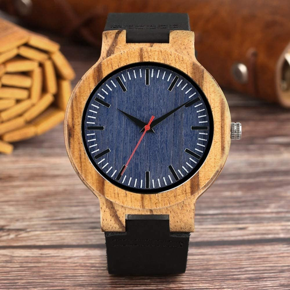 WRENDYY Wooden Watch 35% OFF Blue Cloth Handm Fashionable Dial Wood Bamboo Men