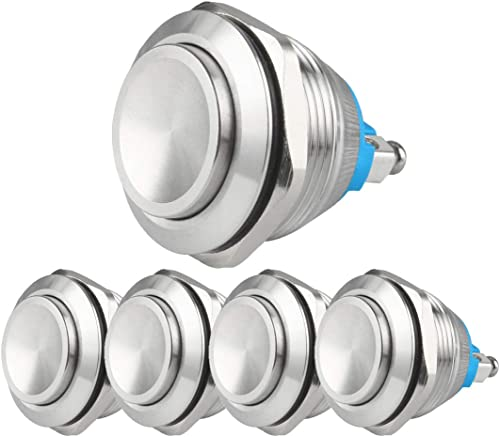 2021 Larcele 22mm Push Button popular Switch Waterproof discount Momentary Metal DIY Switch 1No Stainless Steel Shell JSANKG-19,5 Pieces(Screw Terminal,High Concave Head) outlet online sale