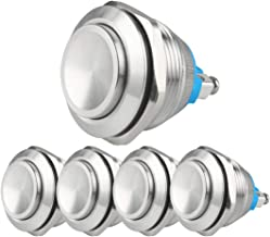 Larcele 22mm Push Button Switch Waterproof Momentary Metal DIY Switch 1No Stainless Steel Shell JSANKG-19,5 Pieces(Screw Terminal,High Concave Head)