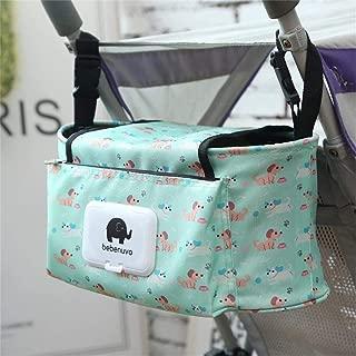 Baby Hanging Stroller Organiser Baby Bag, Buggy Bottle Holder Pram Storage Diaper Bag Organiser for Stroller & Pushchair, with Straps & Clips, Waterproof, Universal.(Green)