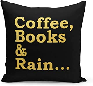 Coffee Books Pillow Black Velvet Pillow with Metalic Gold Golden Foil Foil Print Reading Couch Pillows