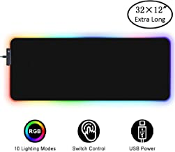Amazer-T RGB Soft Gaming Mouse Pad Large 80 * 30cm,Oversized Glowing Led Extended Mousepad,Non-Slip Rubber Base Computer Keyboard Pad Mat,31.5X 11.8in