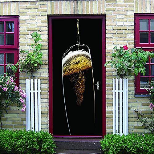 geen merk 3D Deur Stickers Champagne Zelfklevende muur Art Stickers Voor Slaapkamer Huis Woonkamer Office Badkamer Verbetering.77X200Cm