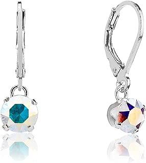 Argent Sterling 925 8 mm fuchsia Aurora Borealis Aurora Borealis Fleur de Cristal Boucles D/'oreilles Clou