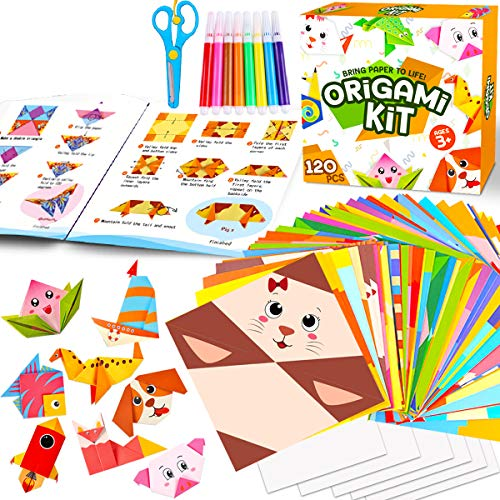 Innorock Origami Paper Craft Kit for Kids - Arts and Crafts Colored Construction Papers for Beginner Kits Folding Activity Book Set - Japanese Art Hobby Adults Teens Boys Girls Age 5 6 7 8 9 Year Old
