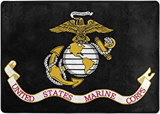 KRERVKE Rug Flag of The United States Marine Corps Soft Non Slip Floor Mat Living Dinning Room Bedroom Kitchen Carpet 5' X 7'(58 X 80 Inches)